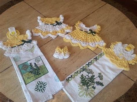 dish towel potholder tutorial youtube crochet sunshine cottage vintage dress towel topper diy