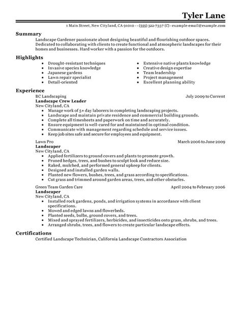Resume Description Landscaper Exle Resume Exle Resume Landscaping