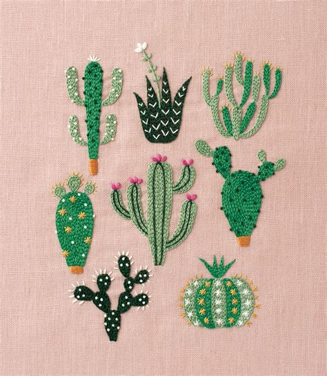 embroidery cactus diy floral cactus embroidery projects from a year of