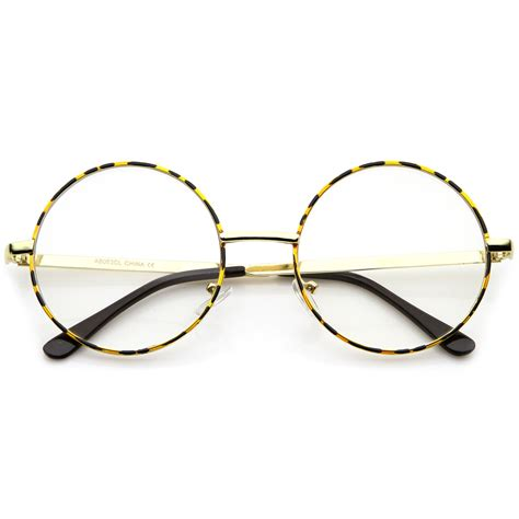 retro lennon style mid size metal frame clear lens