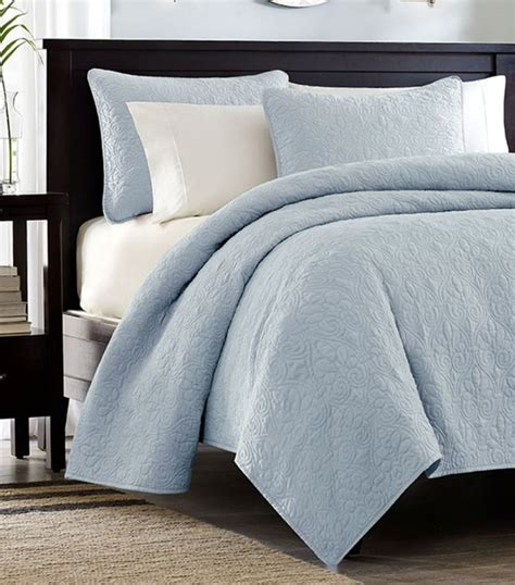 cotton coverlet sky blue matelasse 3pc full queen quilt set cotton fill