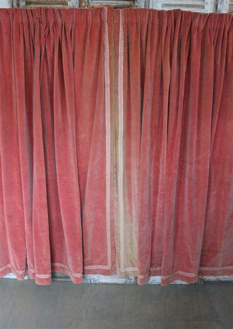 pink velvet drapes pair of pink velvet drapes with valance at 1stdibs