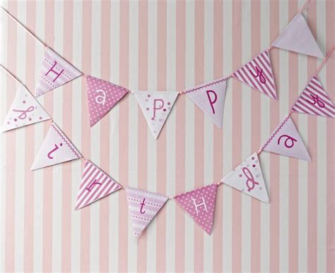 Bunting Flags Banner Happy Birthday Bulat Motif Mix pink n mix happy birthday flags banner bunting vintage style decorations ebay