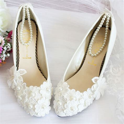 Womens Wedding Shoes by Silk Floral Flat Heel White Wedding Shoes Bridal