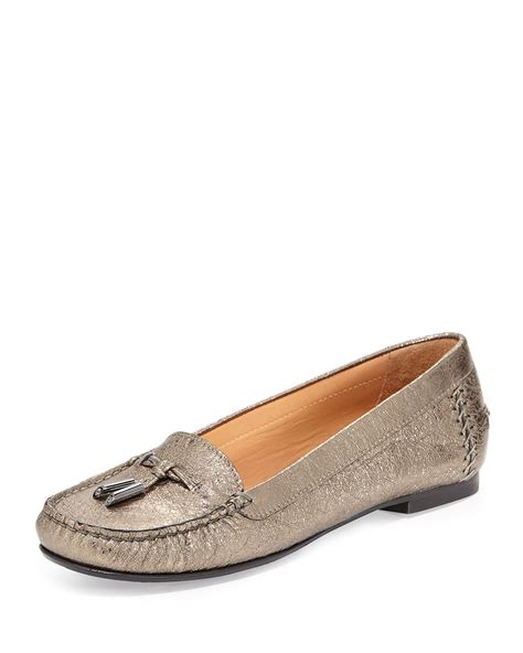 moccasin loafer lyst stuart weitzman moxie foil moccasin loafer in metallic