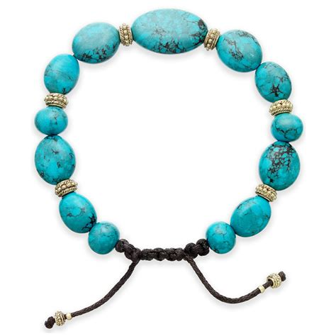 beaded cord bracelet by ralph goldtone reconstituted turquoise