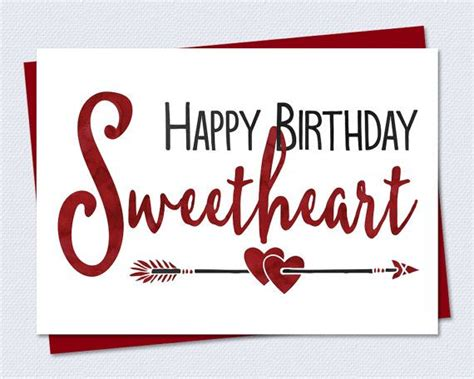 printable birthday cards for a wife printable birthday card happy birthday sweetheart