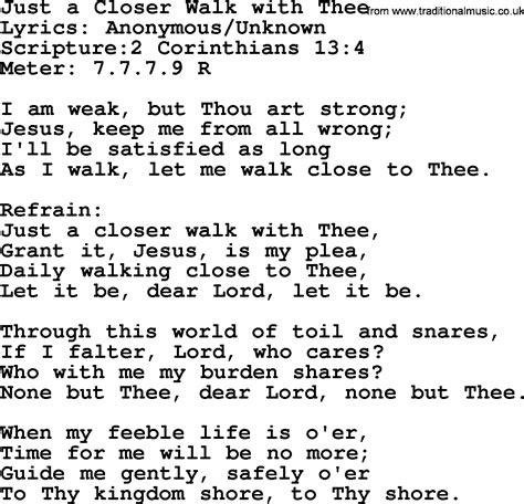 printable lyrics to just a closer walk with thee closer lyrics