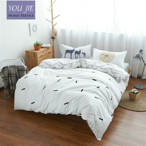 100 cotton deer time bedding set gray bed sheets white