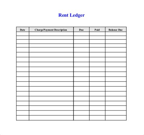 Rent Receipt Ledger Template rental ledger template accounting ledger template