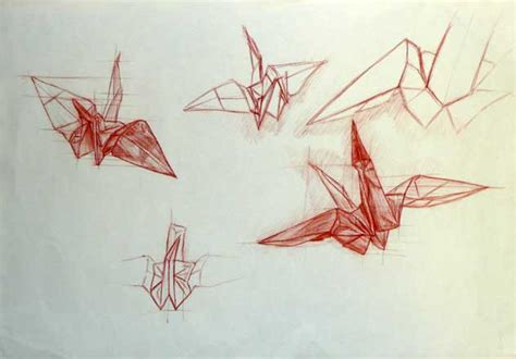 Origami Drawings - origami cranes drawing