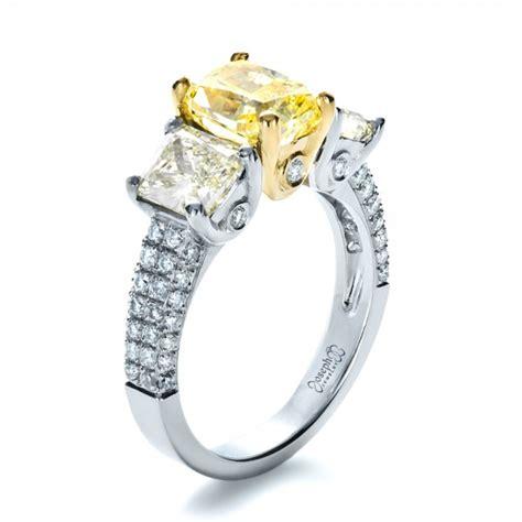 custom three canary engagement ring 1198