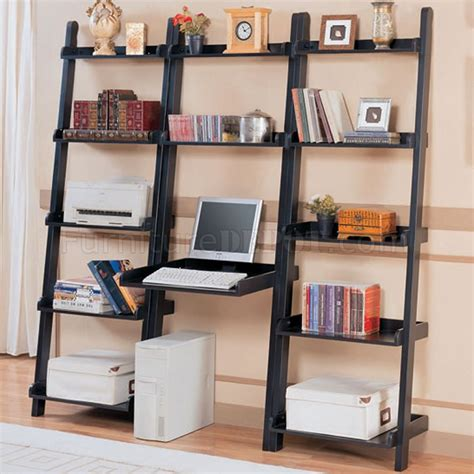 black slant modern wall unit w writing desk