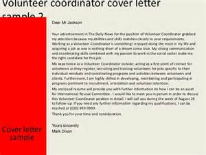 volunteer cover letter sle volunteer coordinator cover letter