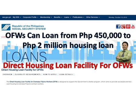 how to apply housing loan in sss how to apply for sss direct housing loan facility for ofws