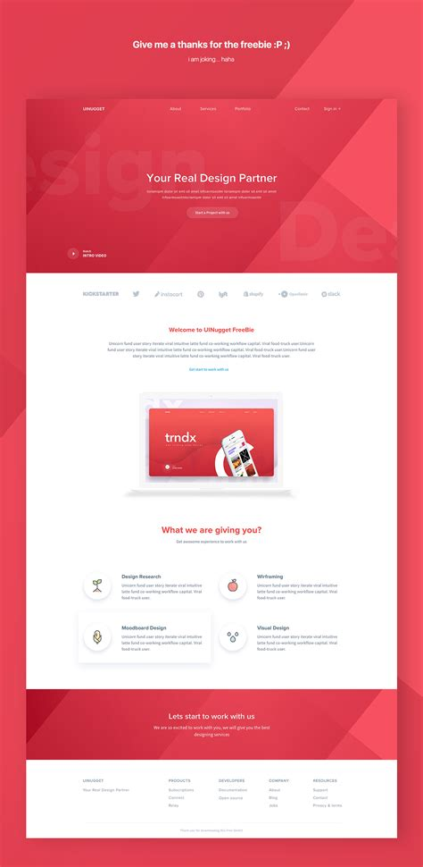 Uinugget Free Web Template For Sketch Free Download Freebiesui Sketch Website Template Free