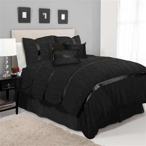 Black Comforters Sets 7pc black applique sequin ruched comforter set ebay