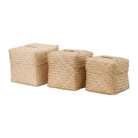 Seagrass Bathroom Accessories Nipprig 2015 Box With Lid Set Of 3 Seagrass Ikea