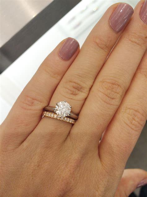 Platinum Engagement Ring   Rose Gold Band = No No?