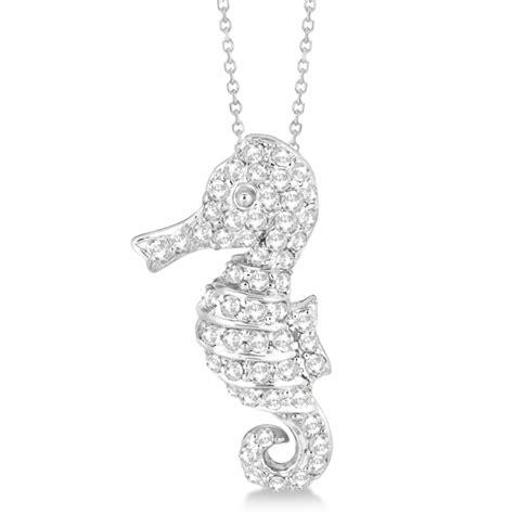 pave seahorse pendant necklace 14k white gold 0