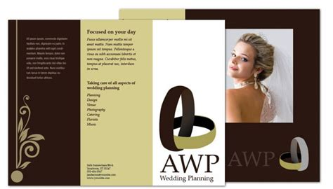 tri fold brochure template  wedding planner order
