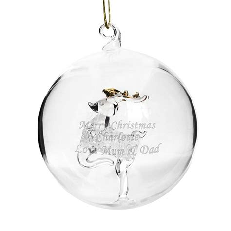 personalised glass bauble reindeer or tree by