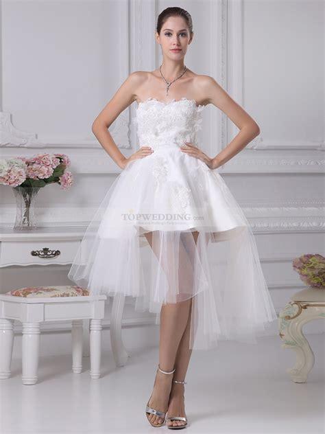 rashada strapless appliqued mini wedding dress with