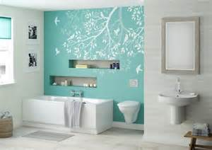 This strong aqua feature wall in our Betta Living Libra bathroom is a