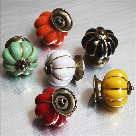 colorful kitchen cabinet knobs colorful pumpkins knobs ceramic kitchen cupboard cabinet