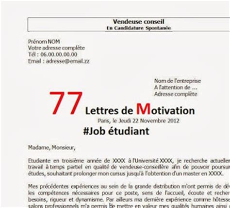 Lettre De Motivation Candidature Spontanée Vacataire lettre de motivation 233 tudiant biblioth 232 que