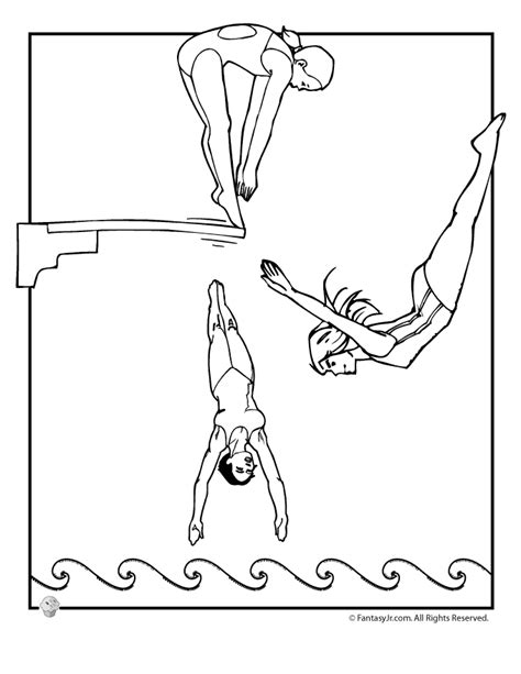 olympic women s diving team coloring page woo jr kids