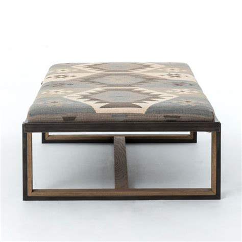 upholstered ottoman coffee table eclectic iron and kilim upholstered coffee table ottoman