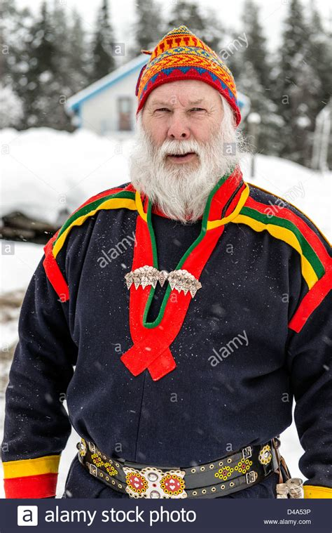 white in swedish sami with white beard portrait swedish lapland