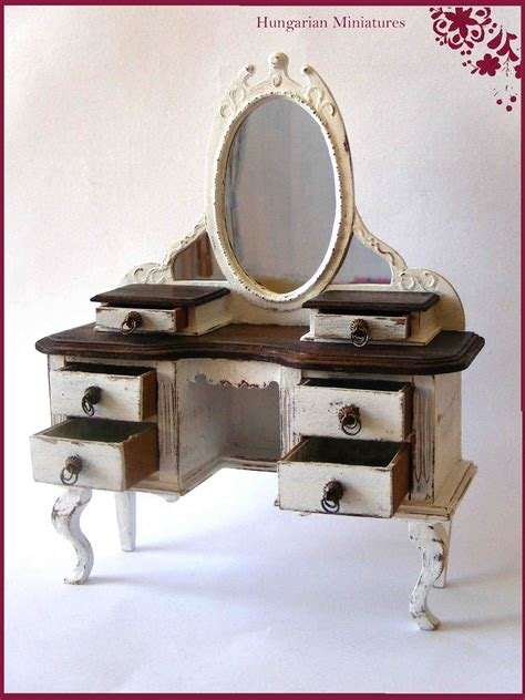 Used Vanity Table by Tiny World Dollhouse Miniatures Vanity Table
