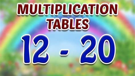 tables for 12 to 20 learn multiplication tables 12 to 20 for part 4