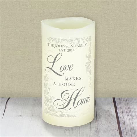 personalised love makes a home led candle buy from