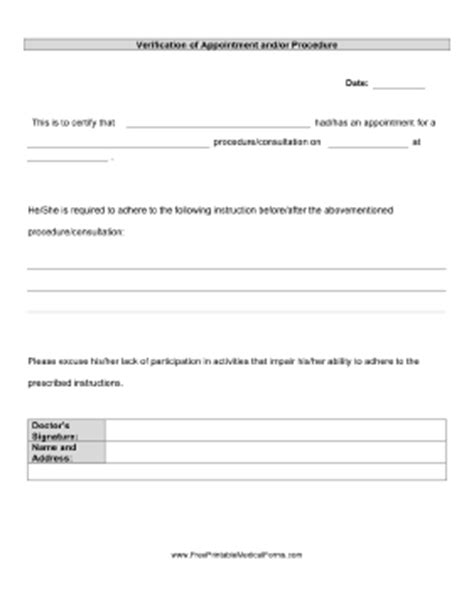 Printable Verification Of Appointment And Treatment Doctor Visit Form Template