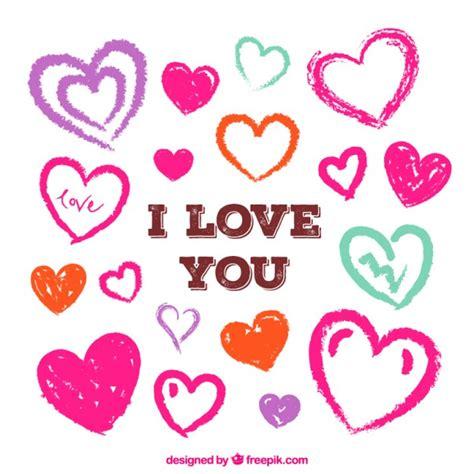 imagenes de corazones dibujados a mano te amo tarjeta con corazones dibujados a mano descargar