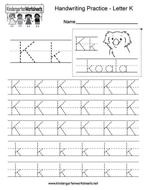 free printable letter k writing practice worksheet for