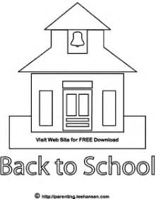 Back To School Outline by School House Coloring Page Printables