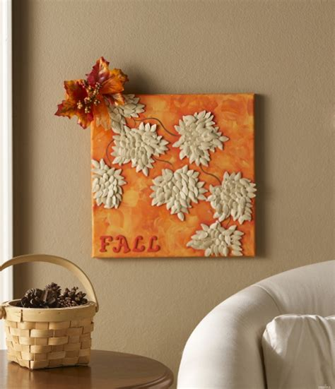 home decoration craft ideas painting for fall maple leaves made with pumpkin seeds