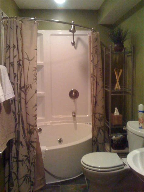 Small Bathroom With Bath And Shower Corner Tub Small Bathroom Tiny House Tub Shower Combo Basement