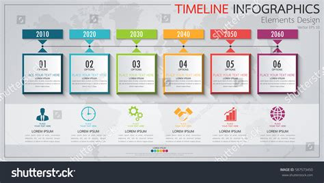 workflow timeline template infographics business horizontal timeline process chart