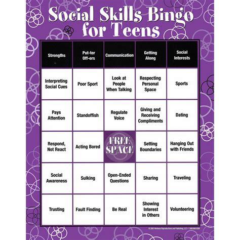 Social Skill Worksheets by Social Skills Bingo For