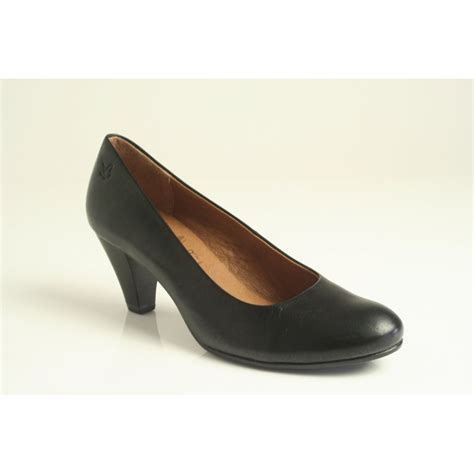 caprice caprice court shoe in black leather with