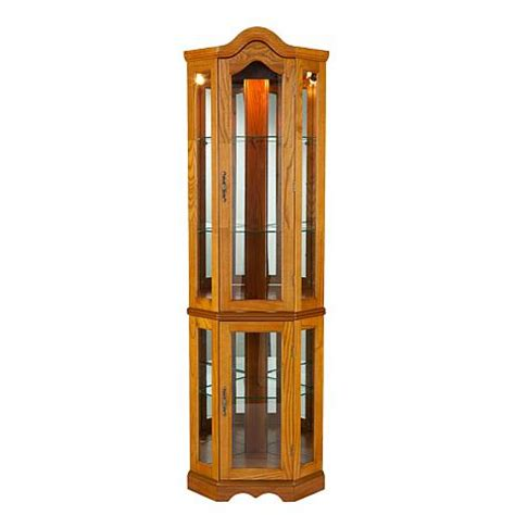 lighted corner curio cabinet lighted corner curio cabinet golden oak 6221876 hsn