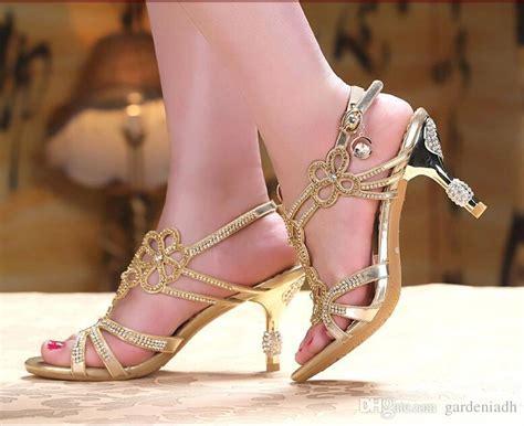 gold blue sandal floral rhinestones 8cm high heels