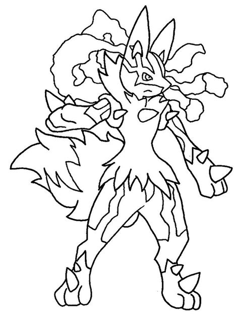pokemon coloring pages of mega lucario mega lucario lineart by tanbla on deviantart