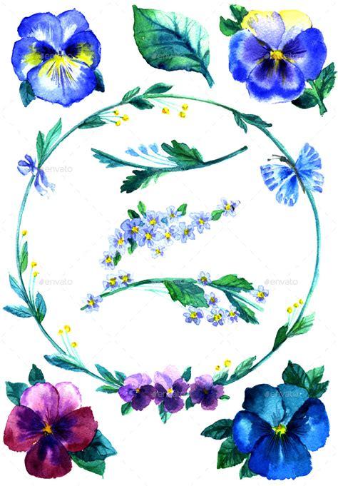 watercolor handmade violet flower set  artmosfera