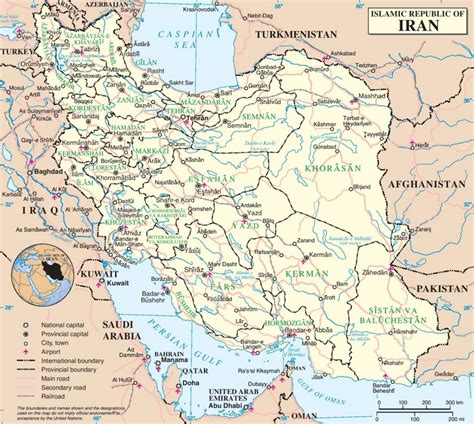 map of iran with cities iran political map
